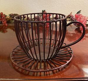 Coffee Mug Pod Holder K Cup Storage Basket Metal Organizer Mug Kitchen Brown