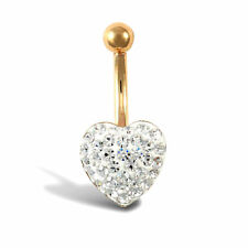 9ct Gold Crystal Love Banana Belly Bar 10mm