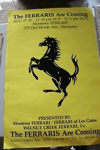 "Rare Monterey Ferrari Dealer Event Poster "" The Ferraris are Coming"""