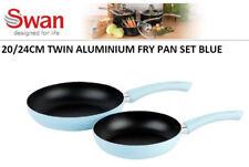 Swan Twin Pack 24cm 20cm Non Stick Aluminium Frying Fry Pan Set - Light Blue