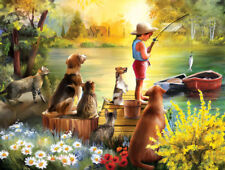 Jigsaw Puzzle Americana Animal Waiting For Dinner 300 pieces NEW Made in the USA