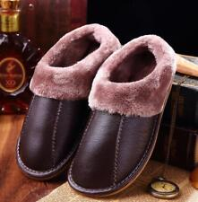 Winter Warm Fuzzy Cow Leather House Slippers for Men Fleece Lined Home Shoes