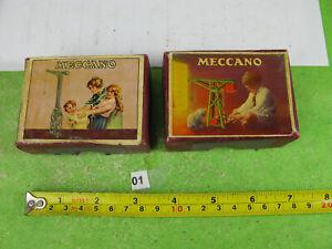 prewar? meccano cardboard boxes & nuts / bolts model part mixed lot n01