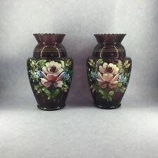Ensemble de 2 grands vases en verre coloré mauve - verreries Doyen d'Havré
