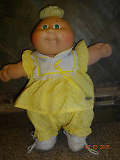 Vintage 1985 Cabbage Patch Doll Girl Blonde Yarn Tuft Yellow Dress Bloomers +