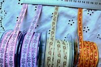 Embroidered Floral Ribbon 10-12mm wide 3 Metres - 4 Designs / Colour Choice AR13