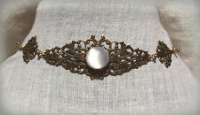 BRASS TRELLIS FILIGREE WHITE MOONSTONE GLASS LINKED CHOKER GOTHIC VICTORIAN