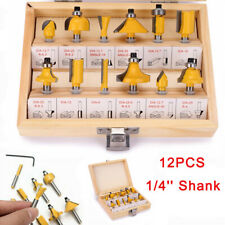 "1/4"" Shank Router Bits Set Carbide Tipped Woodworking Power Cutter Tools 12PCS"