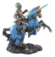 """Medieval Jostling Lancing Tournament Knight On Horse Statue 10"""" Tall Handpainted"""