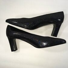 Black Iridescent Lady Continental Italian Leather Heels Shoes Sparkle size 9