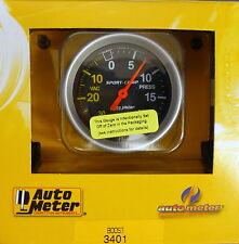 Auto Meter 3401 Sport-Comp Vacuum Boost Mechanical Gauge 2 5/8 30 In.Hg/ 20 PSI
