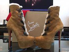 NEW Christian Louboutin Oulanbator 160 Brown Suede Daffodil Boots Shoe EU40