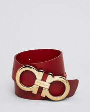 $440 SALVATORE FERRAGAMO Mens OVERSIZED GOLD GANCINI RED LEATHER BELT ITALY 34