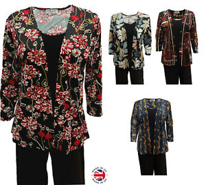 NEW Ladies Top Twin Set Tee 3/4 sleeve Smart Casual Evening Top Plus Size 12-22