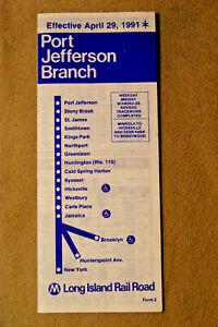 Long Island Railroad Timetable - Port Jefferson Branch - April 29, 1991