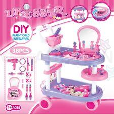 Girls Vanity Makeup Dressing Table Desk Playset Pretend Toys Kit - Pink & Purple