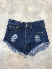 The Laundry Room Women's Blue Dark Wash Cotton Distressed Jean Shorts Sz 25