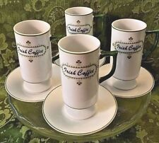 Irish Coffee Pedestal Mugs Cups & Saucers Set Green Clover White Porcelain 10A31