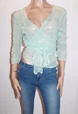 mosaic Designer Green Lace 3/4 Sleeve Wrap Around Top Size 14-L  #SJ08