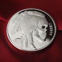 1 Troy oz .999 Fine Silver Bullion Round (Coin) Indian Skull design. NEW!!
