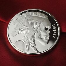 "1 Troy oz .999 Fine Silver Bullion Round (Coin) "" Indian Skull "" design. NEW!!"