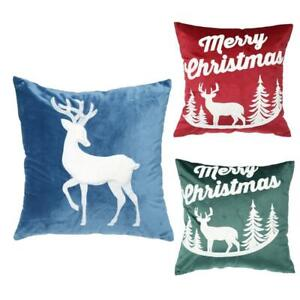 Merry Christmas Decorations Pillow Cover Embroidery Elk Pillowcase Cushion Cover