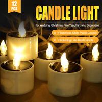 12/6x Teelicht LED mit Solar Lampe licht Ladestation elektrisch Kerze Tealight