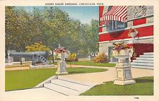 CHEBOYGAN MICHIGAN COURT HOUSE GROUNDS~LARGE CANON~STRIPED AWNING POSTCARD 1940
