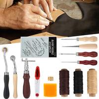 14pcs Leather Craft Hand Stitching Sewing Tool Kit Thread Awl Waxed Thimb Needle