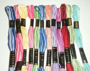 12 x 8 metres Assorted Skeins Duchess Variegated Embroidery Thread