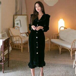 Vintage Single Breasted Velvet Women Long Dress Turn-down Collar Ruffles Dress