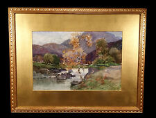 ANTIQUE SCOTTISH LANDSCAPE WATERCOLOR PAINTING GEORGE GRAY SPORTING FLY FISHING