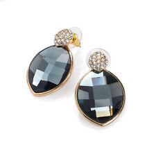 Gold Coloured Black Crystal Stud Earrings Ladies Fashion Jewellery