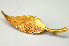 Tiffany & Co Retired 14K Solid Gold Leaf Feather Pin Brooch