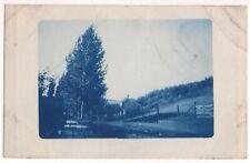 Postcard RPPC Early 1900s Cyanotype Blue Landscape Rural Farm Road Hill Scene