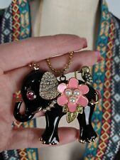 Betsey Johnson Necklace Elephant Black Pink Gold Enamel Long NEW