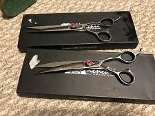 Set Of 2 Kenchii Love Pet Dog Grooming Shears, Straight Curved Pink Heart 7.0