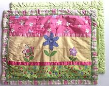 2 DYR Girls Standard Pillow Shams Cases Floral Flowers Quilted Green Pink