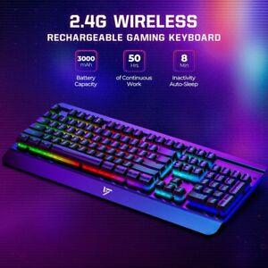 Rechargeable Wireless Gaming Keyboard RGB Keypad LED Rainbow Backlit Metal Panel