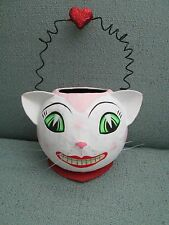 Rare Dept 56 Paper Mache Pink Cat Candy Container Basket Pail Valentine Heart