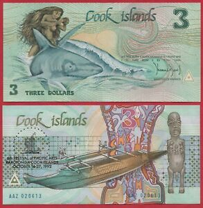 COOK ISLANDS 3 DOLLARS 1992 P6 BANKNOTE UNC