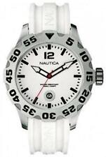 New Nautica BFD 100 Steel White Rubber Men Oversize Watch Date 50mm N14608G $145