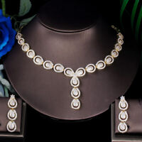 CWWZircons Micro Pave Cubic Zirconia Dubai Gold Necklace Jewelry Sets for Women