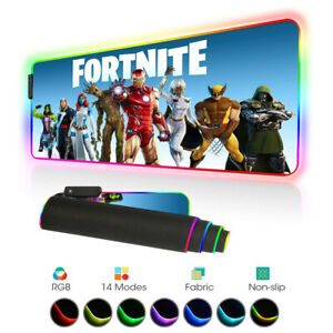 Fortnite Gaming Mouse Pad Gamer LED RGB Large XL Horizontal Mouse Mat Laptop PC