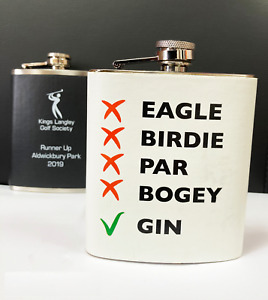 Personalised Metal Hip Flask - Great for Golf Societies, golf prize or gift