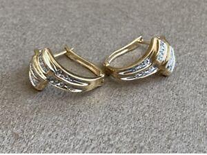 10K Solid Yellow Gold ADL Brand Cluster Diamond Earrings
