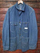VTG 60s WARDS POWR HOUSE UNION MADE DENIM WORKWEAR CHORE JACKET BARN COAT USA XL