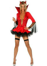 Ladies Halloween Sexy Red Devil Vampire Fancy Dress Costume Horns + Fork