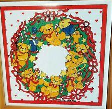 "Vintage Lucy & Me 7""Hot Plate/Trivet/Wall Art Christmas Bears Riggs Enesco 1984a"
