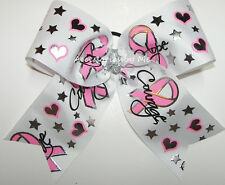 Breast Cancer Cheer Bow Sparkly Pink Foil Cheerleader Softball Volleyball Soccer